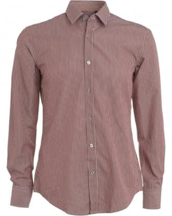Shirt, Red Slim Fit 'Ronny 21' Regular Stripe Shirt