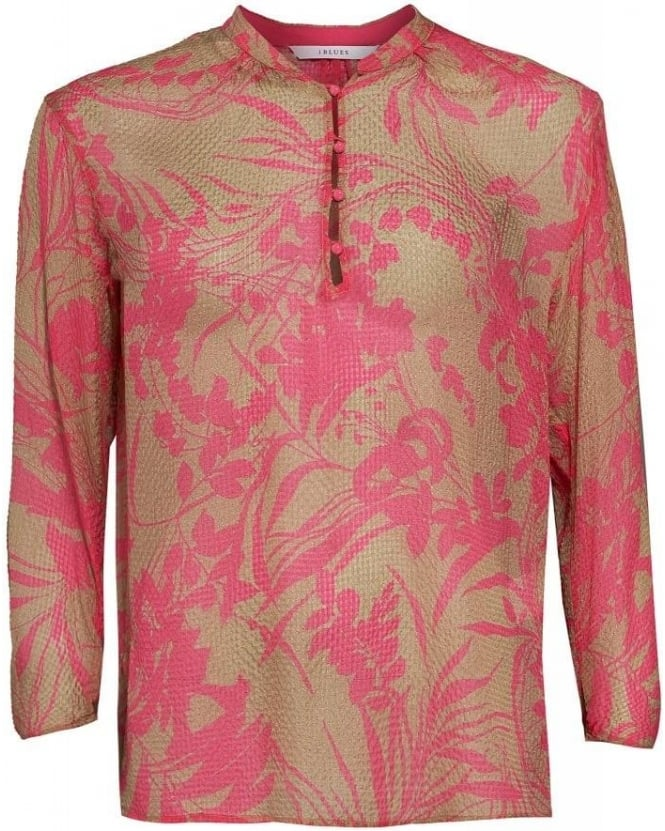 I Blues Shirt, Shocking Pink and Beige Tunic 'Team' Shirt