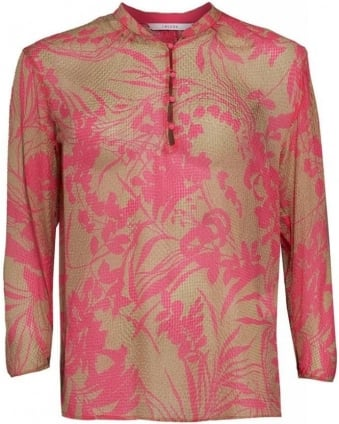 Shirt, Shocking Pink and Beige Tunic 'Team' Shirt