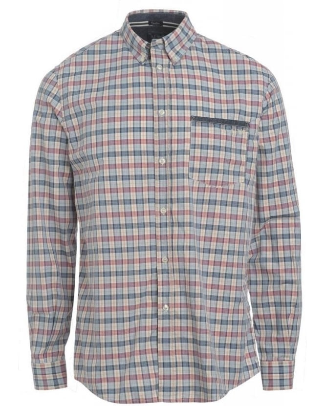 Armani Jeans Shirt, Sky and Red Checked Comfort Fit Shirt