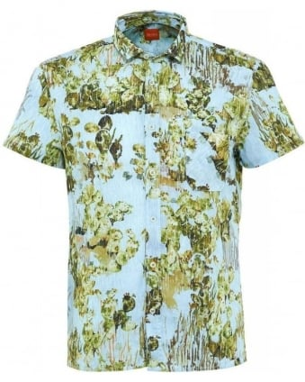Shirt, Sky Blue Cactus Print Regular Fit 'EzippoE_1' Shirt