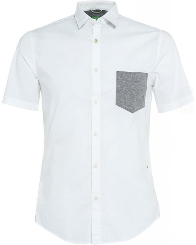 Hugo Boss Green Shirt White 'Baka' Regular Fit Shirt