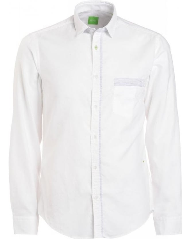 Hugo Boss Green Shirt, White Fine Stripe Detail Regular Fit 'Bayos' Shirt