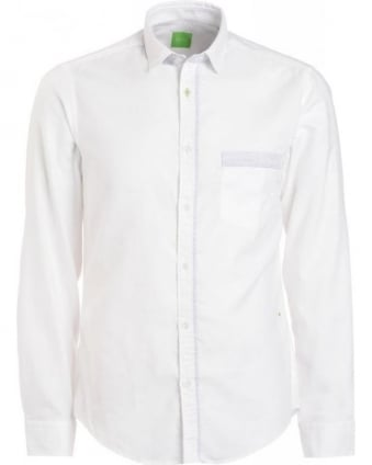 Shirt, White Fine Stripe Detail Regular Fit 'Bayos' Shirt