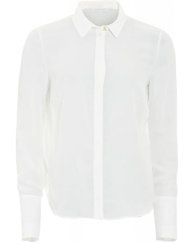 Patrizia Pepe Shirt White Pleated Back Blouse