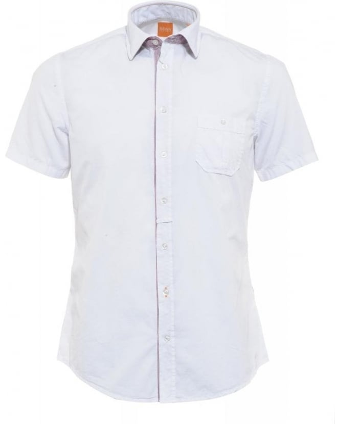 Hugo Boss Orange Shirt, White Slim Fit 'EslimyE' Shirt