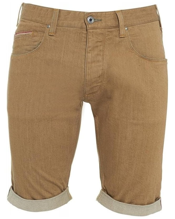 Armani Jeans Shorts Beige Selvedge Slim Fit Shorts