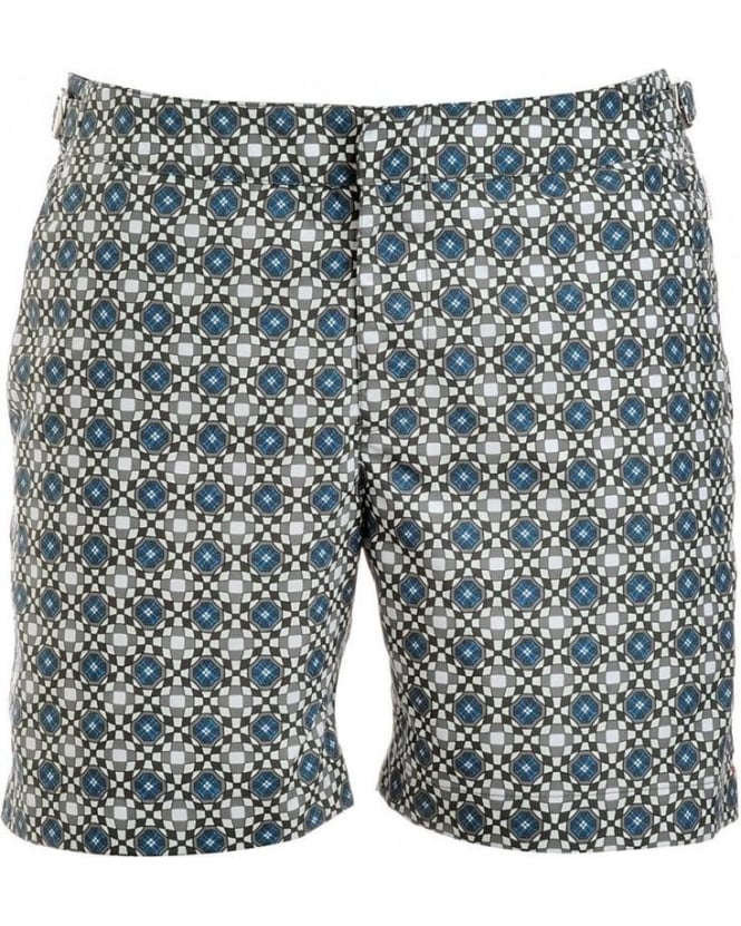 Orlebar Brown Shorts, Chasis Green Geometric 'Bulldog' Swimshorts