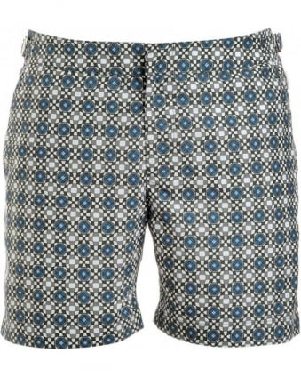 Shorts, Chasis Green Geometric 'Bulldog' Swimshorts