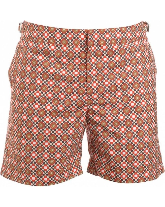 Orlebar Brown Shorts, Orange Geometric 'Bulldog' Swimshorts