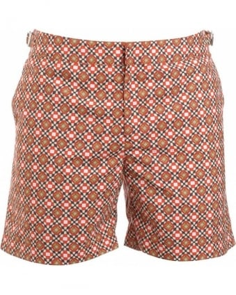 Shorts, Orange Geometric 'Bulldog' Swimshorts