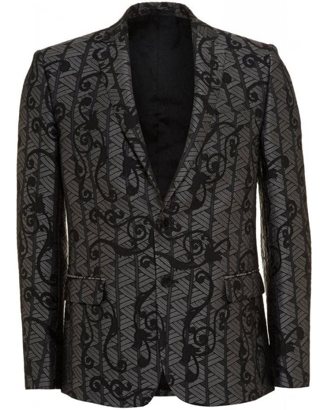 Versace Collection Silver and Black Baroque Jacquard Print Jacket