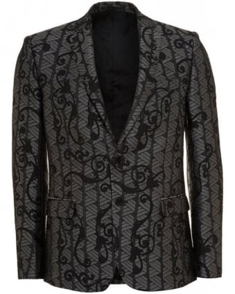 Silver and Black Baroque Jacquard Print Jacket