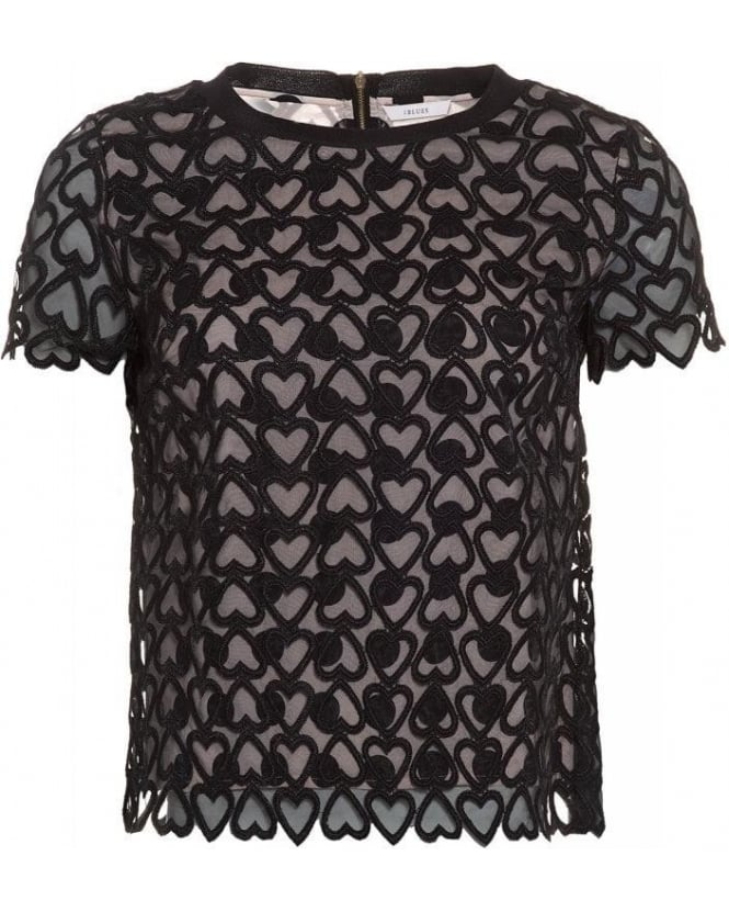 I Blues 'Simona' Black Mesh Hearts and Spots Top