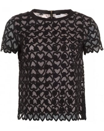 'Simona' Black Mesh Hearts and Spots Top