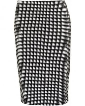Skirt Black White Geometric Pencil Skirt