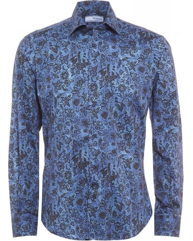 Poggianti Shirts Sky Blue Birds and Floral Print Shirt