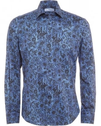 Sky Blue Birds and Floral Print Shirt