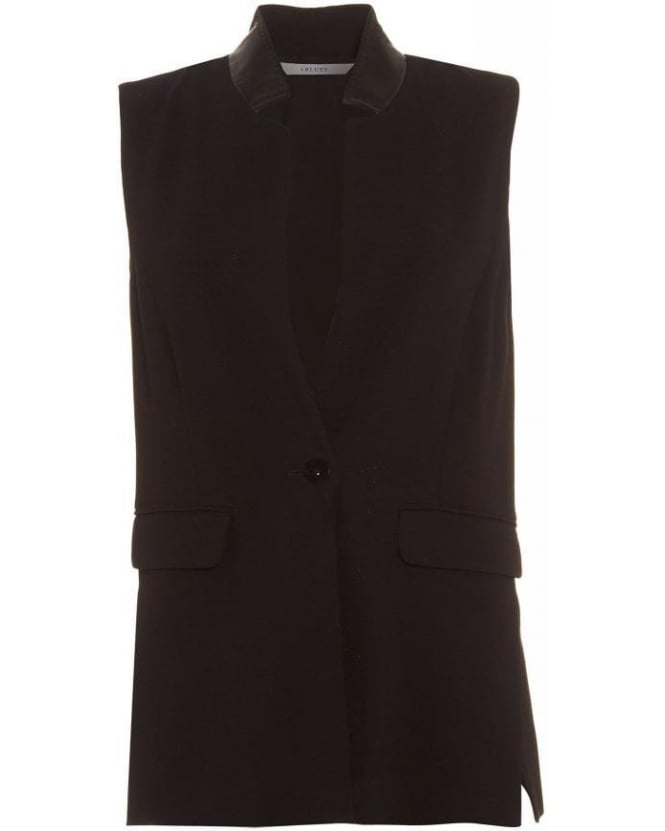 I Blues Sleeveless Jacket, 'Tiglio' Leather Effect Black Waistcoat