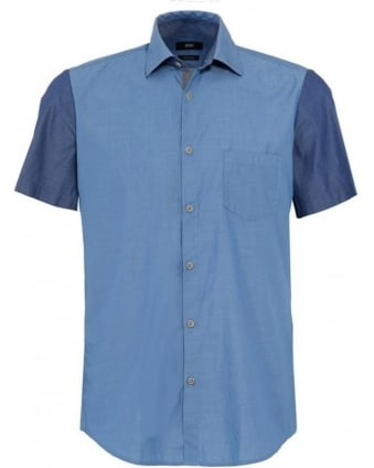 Slim Fit Blue 'Lino 1' Contrast Panel Shirt