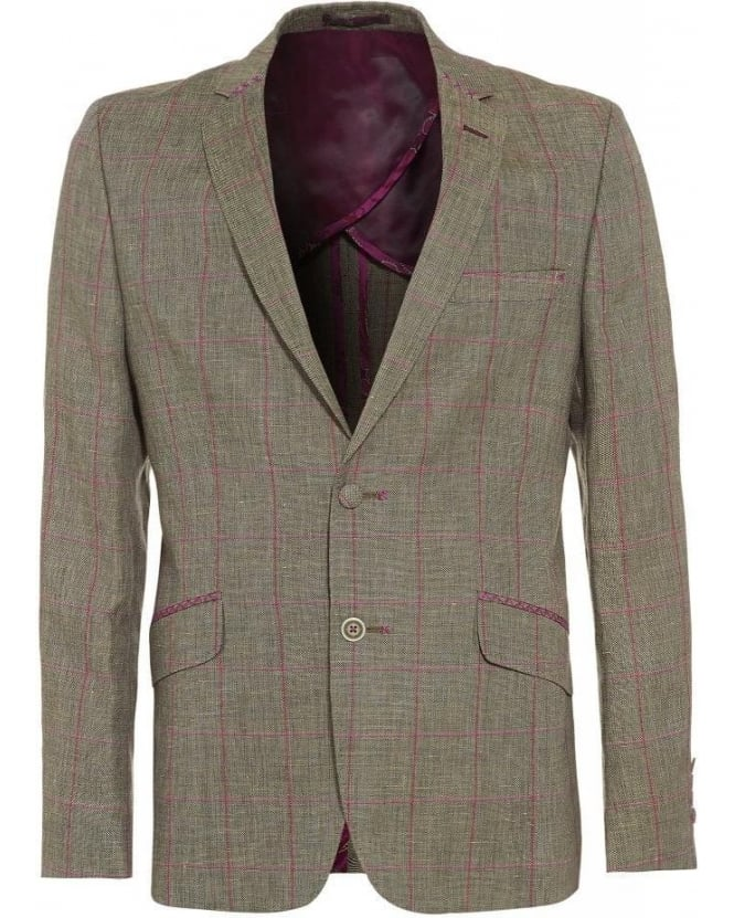 Holland Esquire Slim Fit Grey and Pink Checked Jacket