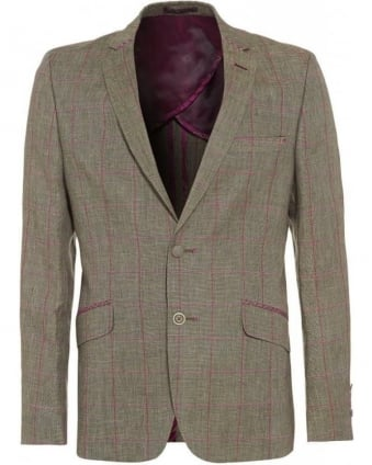Slim Fit Grey and Pink Checked Jacket
