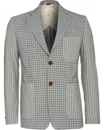 Slim Fit Grey Stripe and Check Print Jacket