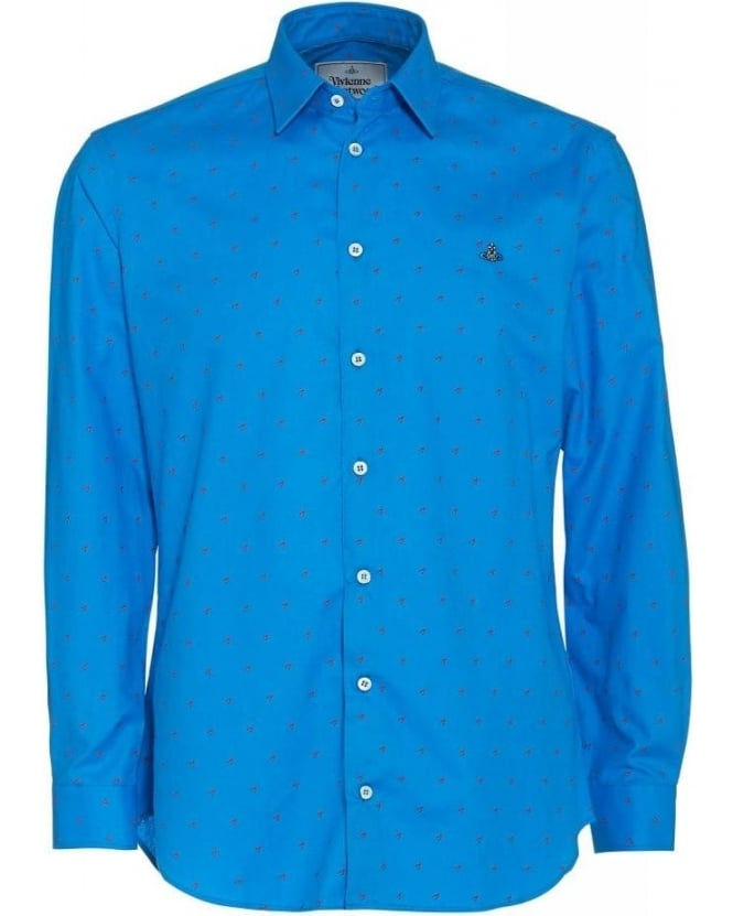 Vivienne Westwood Man Slim Fit Light Blue Star Tooth Print Shirt