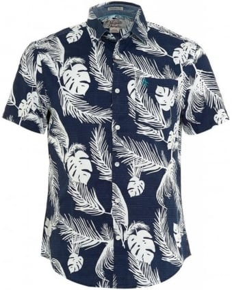 Slim Fit Navy Hawaiian Fern Print Shirt