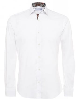 Slim Fit White Floral Trim Shirt