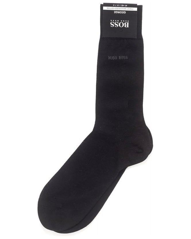 Hugo Boss Black Socks, Black Mercerised Cotton 'George RS Uni' Socks