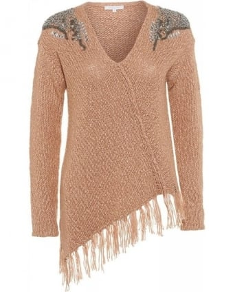 Soft Beige Asymmetric Embellished Knitted Tassel Jumper