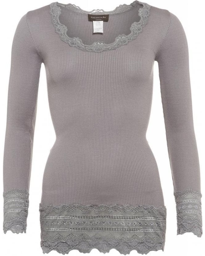 Rosemunde Soft Grey Benita Lace Hem Silk Long Sleeve Top