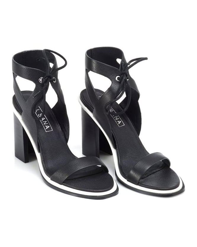Sol Sana Womens Dolly Heel, Black Ankle Strap Leather Sandals