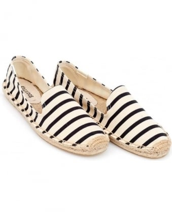 Womens Espadrille, Natural White Black Classic Stripe Smoking Slipper