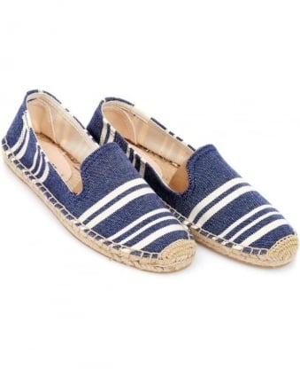 Womens Espadrille, Navy Candy Stripe Smoking Slipper