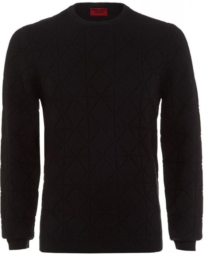 Hugo Boss - Hugo Sonur Sweater, Black Crew Neck Geometric Diamond Jumper
