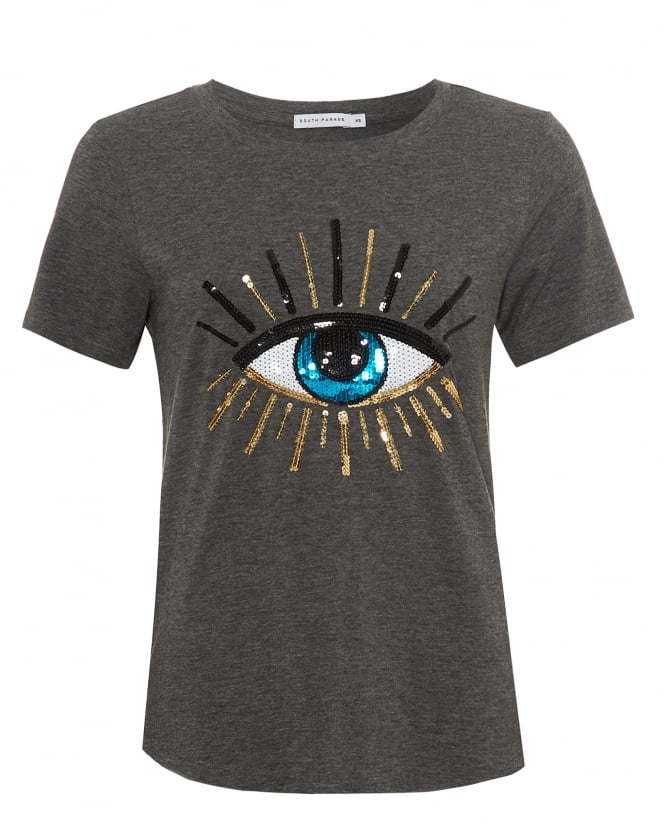 South Parade Womens Lola Evil Eye T-Shirt, Loose Fit Dark Heather Grey Tee
