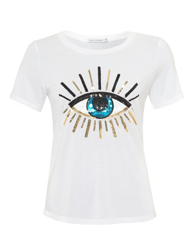 South Parade Womens Lola Evil Eye T-Shirt, Loose Fit White Tee