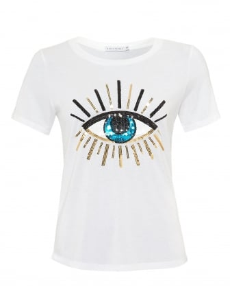 Womens Lola Evil Eye T-Shirt, Loose Fit White Tee