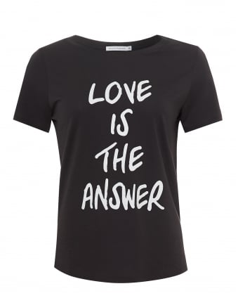 Womens Lola Love Is The Answer T-Shirt, Loose Fit Smoke Black Tee