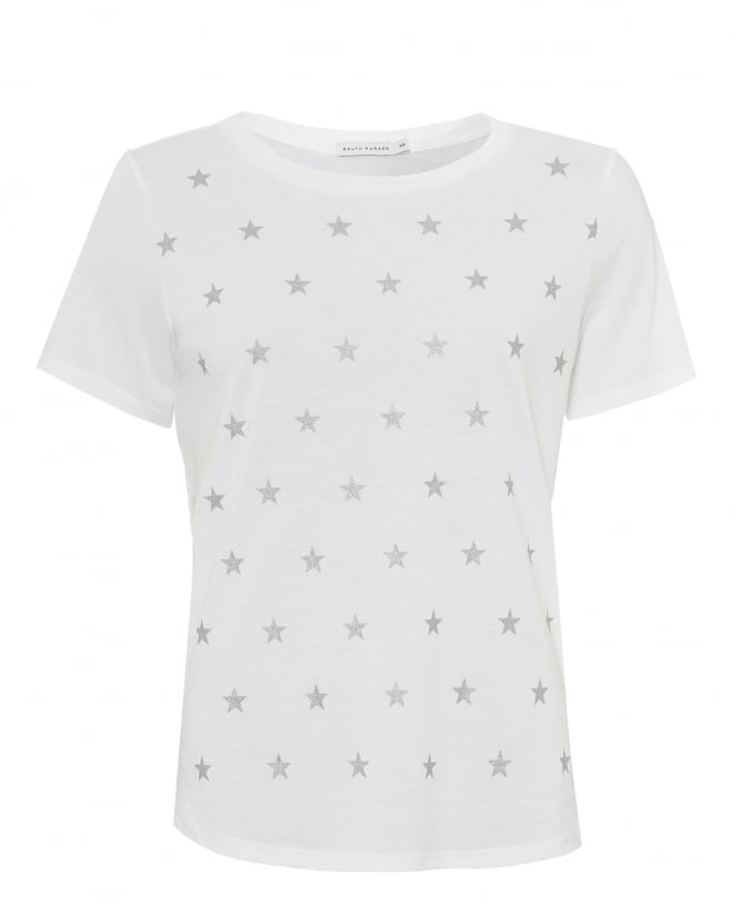 South Parade Womens Lola Mini Stars T-shirt, Loose Fit White/Silver Tee