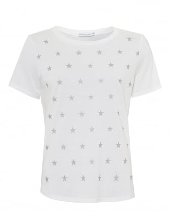 Womens Lola Mini Stars T-shirt, Loose Fit White/Silver Tee