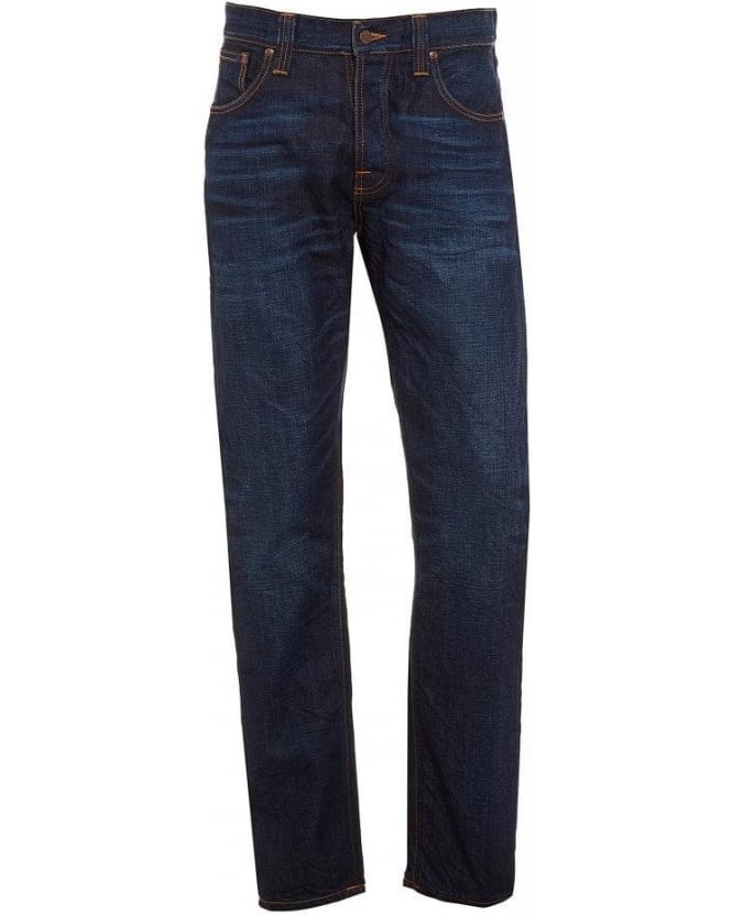 Nudie Jeans Steady Eddie Orange Crinkle, Straight Fit Dark Wash Denim Jeans