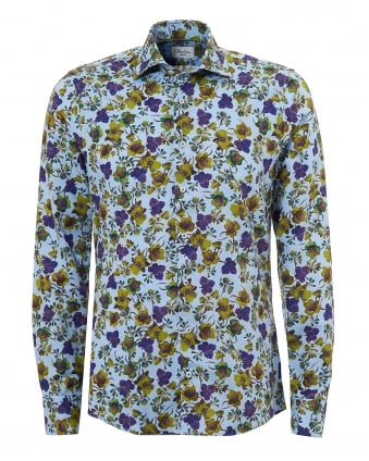 Mens All Floral Slimline Blue and Purple Shirt
