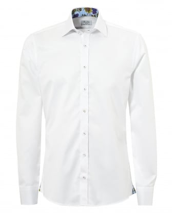 Mens Floral Trim Slimline Long Sleeve White Shirt