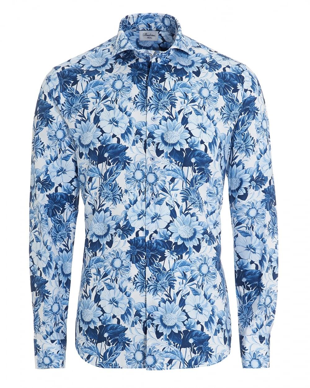 Stenstr ms mens large flower print slimline white blue shirt for Flower print mens shirt