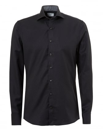 Mens Micro Dot Two Fold Super Cotton Slimline Black Shirt