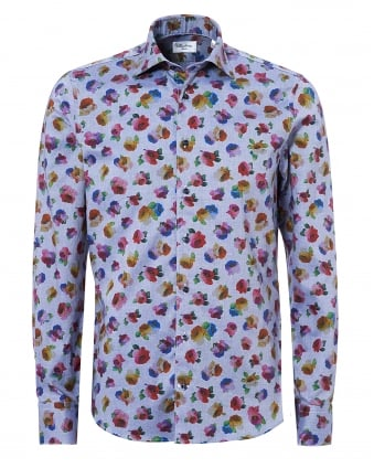 Mens Open Flower Print Slimline Blue Shirt