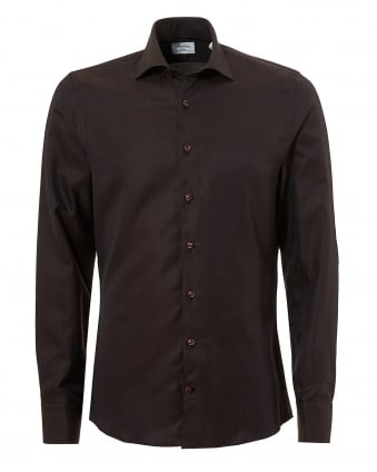 Mens Pin Dot Slimline Long Sleeve Brown Shirt